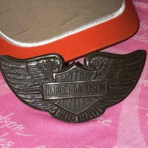 🎀 Harley Davidson belt buckle wings Bar & Shield